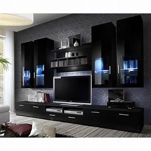 Meuble Design Tv Mural : meuble tv mural design lyra 300cm noir ~ Teatrodelosmanantiales.com Idées de Décoration