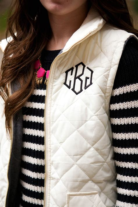 monogrammed puffer vest caralina style