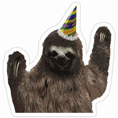 Sloth Party Animal Redbubble Stickers Sticker