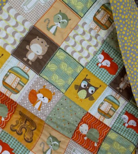 woodland animal flannel baby quiltquilted blanket quilt
