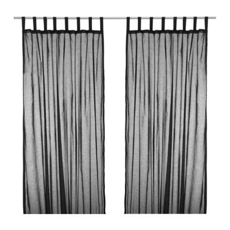ikea wilma tab top curtains drapes semi sheer black