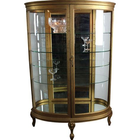 Curved Glass Curio Cabinet By Chintaly by Oval Curved Glass Curio Cabinet C 1900 From