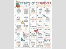 25 Days of Christmas Advent Activities Calendar Printable