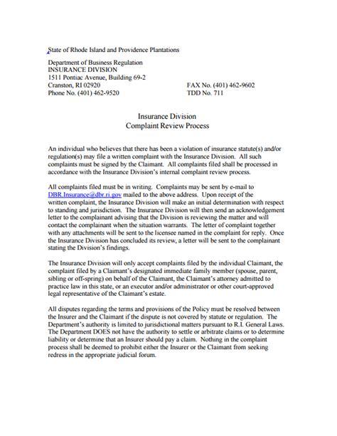 rhode island insurance commissioner complaint