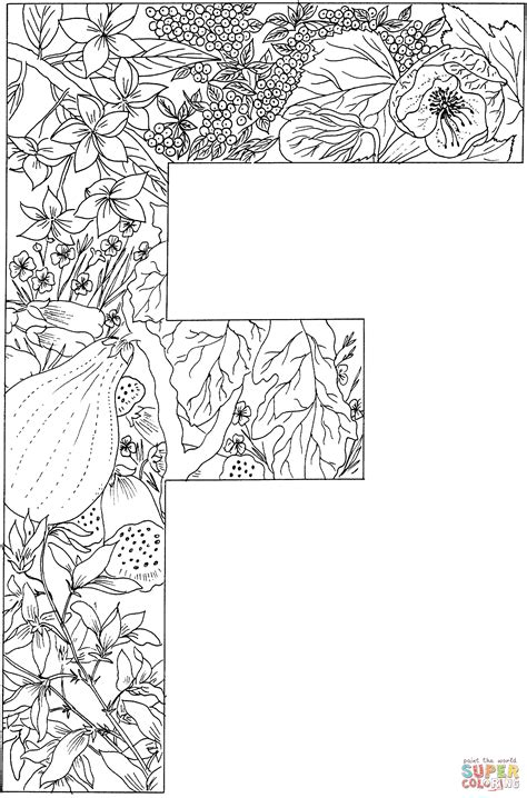 Kleurplaat Mandala Letters by Letter F With Plants Coloring Page Free Printable
