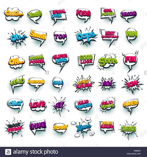 Comic Text Wow Boom Bang Collection Sound Effects Pop