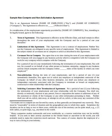 compete agreements  word  format