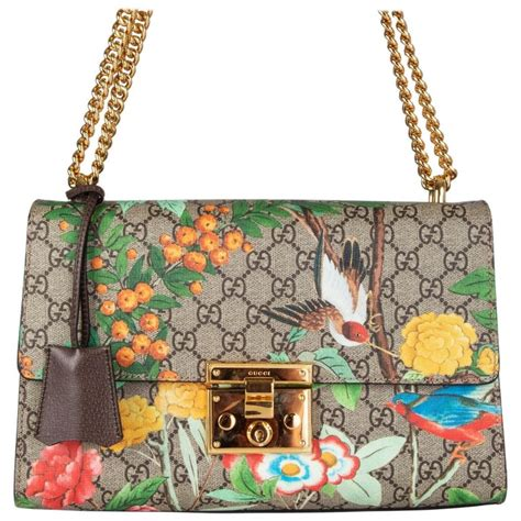 gucci beige monogram gg canvas tropical print tian padlock shoulder bag  stdibs