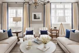 Navy Blue Interior Design Idea Drapes Are The Perfect Touches Of Navy In This Neutral Living Room
