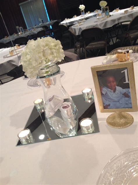 Baptism Centerpieces For Boy Or Girl White And Gold Theme