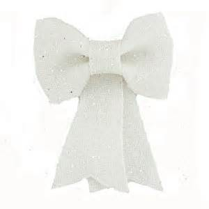 floristrywarehouse white fabric bow large christmas tree decoration with glitter 28cm 11 inch