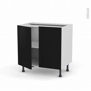 meuble de cuisine bas ginko noir 2 portes l80 x h70 x p58 With meuble bas de cuisine 120 cm 11 cuisine marais