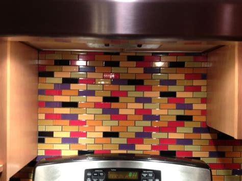 this custom designed multi colored subway tile backsplash bright glass mosaic tiles make