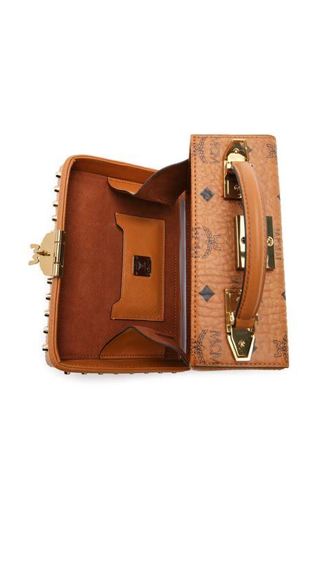 mcm box cross body bag  brown lyst