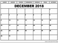 Blank Calendar December 2018 Graphics Calendar Template 2018