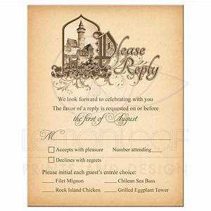 fairy tale wedding meal choice rsvp card medieval castle With gothic castle wedding invitations