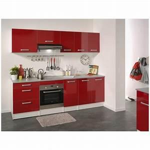 Cuisine Complète Pas Cher : cuisine compl te 240 cm rouge brillant shiny achat vente ~ Melissatoandfro.com Idées de Décoration