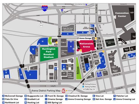 arena garage nationwide arena map parking arena district