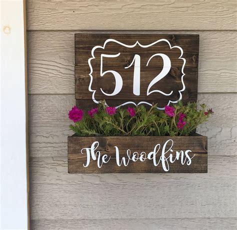 house number planter wooden address planter boxnew
