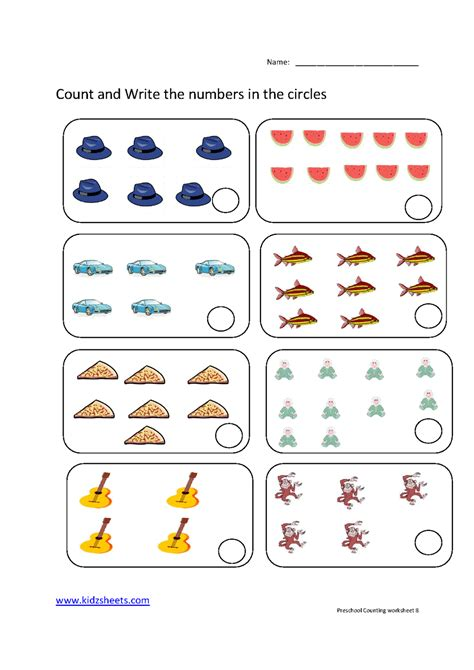 Number Counting Worksheets For Preschoolers  Number Recognition Worksheetscount N Color The