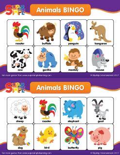 animal bingo cards super simple