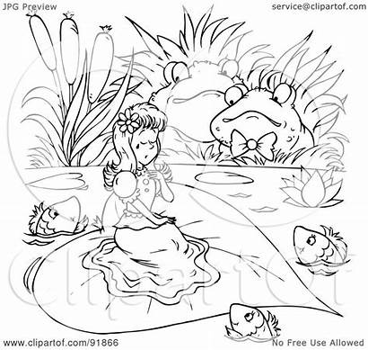 Coloring Thumbelina Royalty Outline Clipart Illustration Bannykh