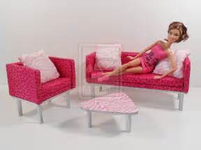 barbie furniture animal print living room set by