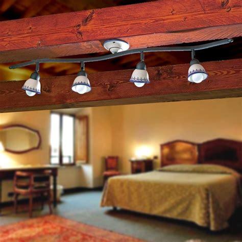 Illuminazione Taverna Ladario Rustico Da Soffitto Ferro Ceramica Decorata A