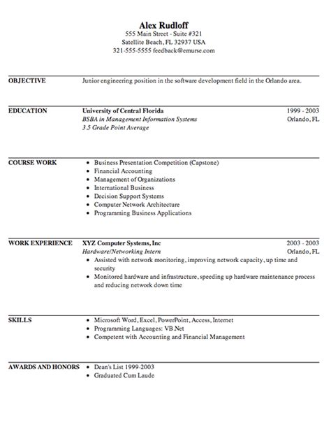 business internship resume sle