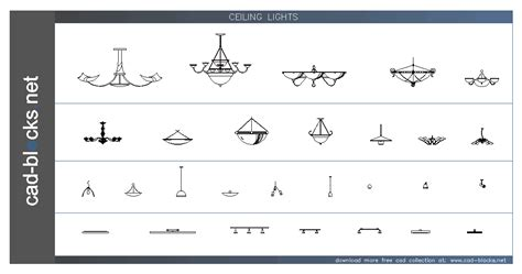 lighting fixtures ilumination cad blocks ceiling lights in elevation view
