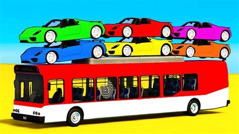 Color Car On Bus & Spiderman Cars Cartoon For Kids & Learn