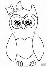 Coloring Owl Cartoon Printable Drawing Cutest sketch template