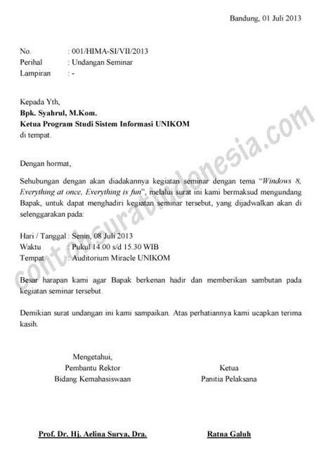 Contoh Surat Undangan Kegiatan by Contoh Surat Undangan Seminar Versi Ms Word Document