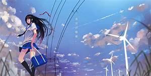 Long, Hair, Standing, Straight, Hair, Blue, Eyes, Scorpionfish, Anime, Anime, Girls, Skirt, Black