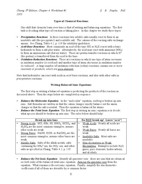 types of chemical reactions worksheet lesson planet