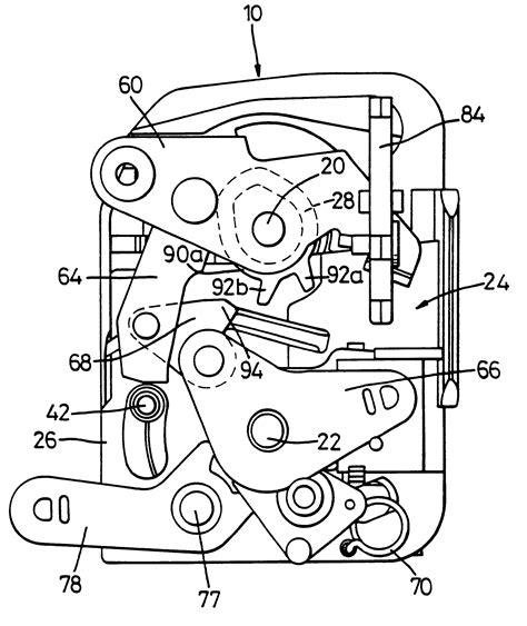 Car Door Lock Mechanism Diagram by Patent Us6305727 Vehicle Door Latch Assembly