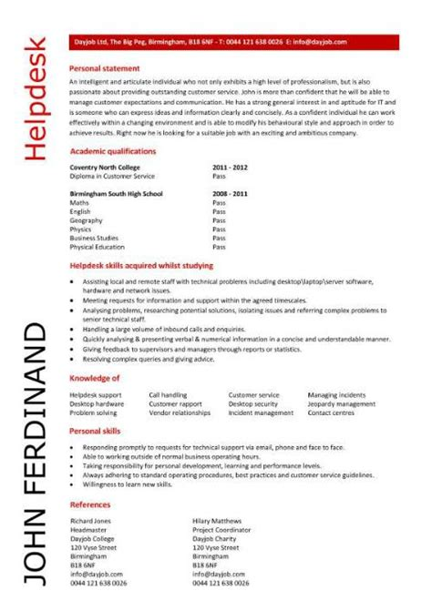 student entry level helpdesk resume template