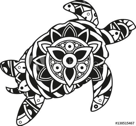 """Practice your weeding techniques with this fun design. """"Vector illustration of a mandala sea turtle silhouette ..."""