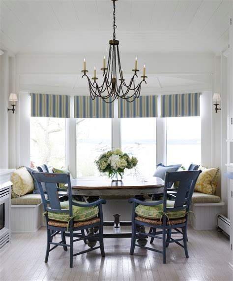 wide window treatments dining room transitional  cafe