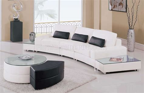 end tables for sectionals white leather 5pc modern sectional sofa w glass top end tables