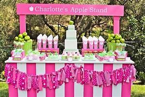 Kara's Party Ideas Apple of My Eye Girl Pink Green Fruit