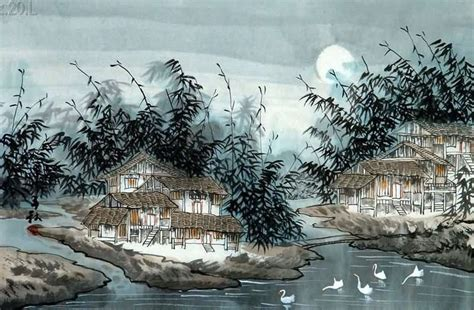 chinese village countryside painting  cm  cm