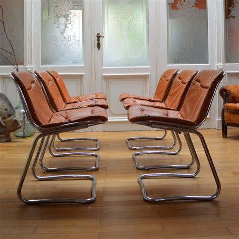 chaise bureaux six chaises métal et cuir ées 70