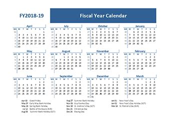 fiscal calendar uk template  printable