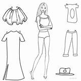 Paper Doll Coloring Dolls Pages Printable Barbie Template Clothes Rocks Cut Templates Outs Bear Sheets Cool Lol Russian Clip sketch template