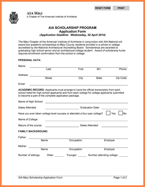 13249 college application template scholarship application template high school 20 aia 20