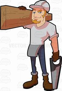 A Male Construction Worker Carrying A Slab Of Wood Vector ...