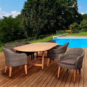 Amazonia fender 9 piece teak wicker double extendable oval for Patio furniture covers amazon ca