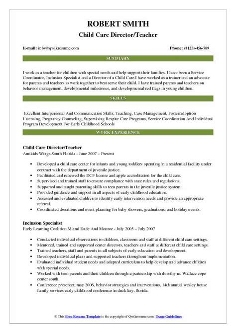 Childcare Resume Sle by Child Care Director Resume Sles Qwikresume