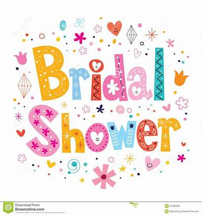 Shower Bridal Card Decorative Type Lettering Vector